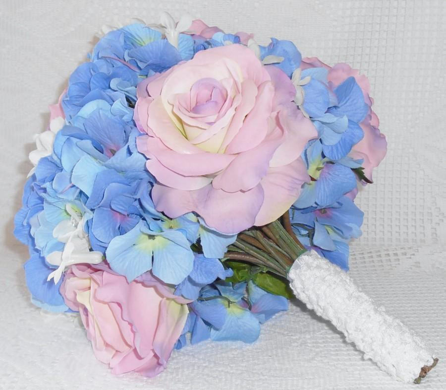Silk flower bridal bouquet pink with cream roses blue hydrangea silk flower bridal bouquet pink with cream roses blue hydrangea artificial flower bridal bouquet silk floral bridal bouquet bridal mightylinksfo