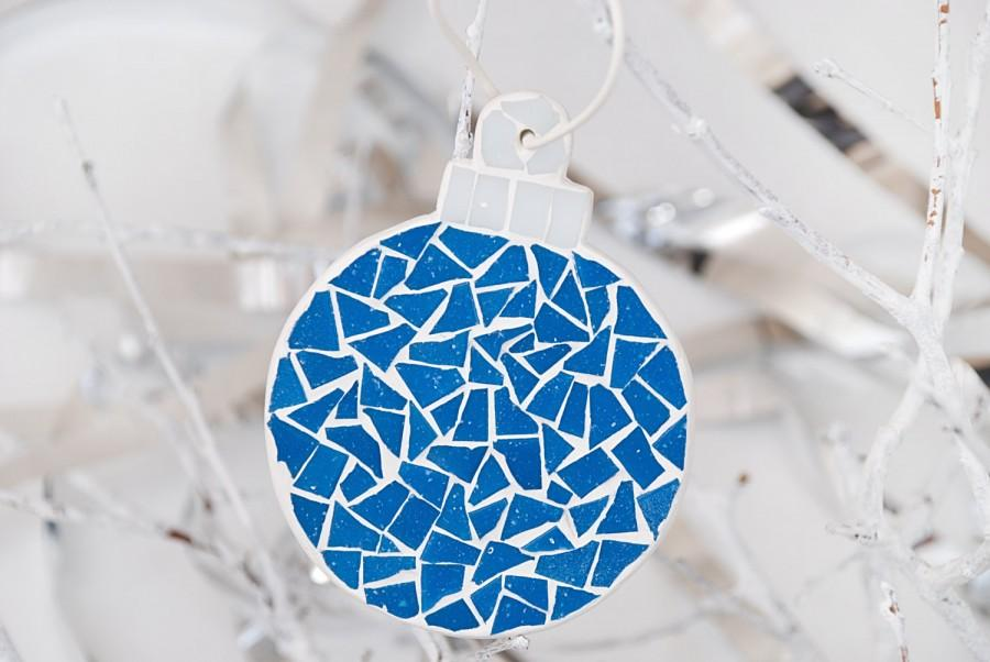 Christmas tree ball ornament christmas mosaic ball xmas blue