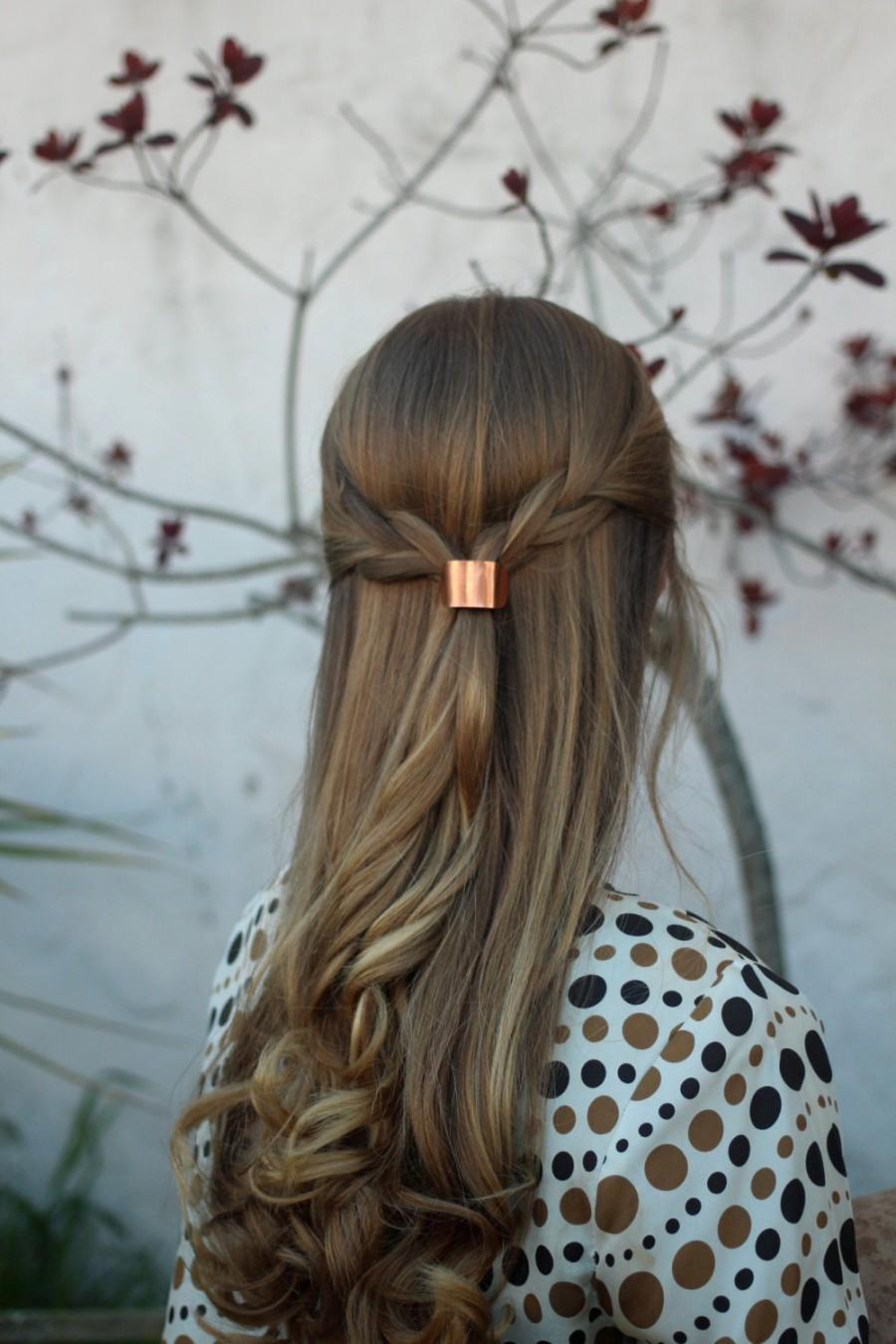 Metal hair cuff - size small copper ponytail holder rustic hair accessories  silver pony tail tie boho chic shiny brass hair slide for her 9abe291a939f