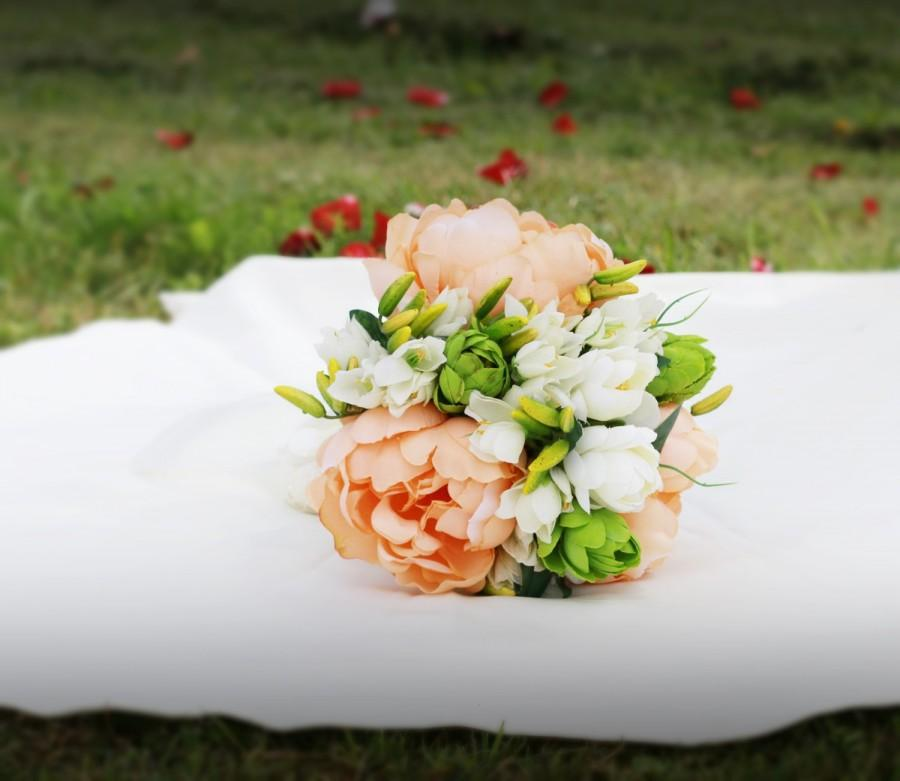 Свадьба - SALE 50 % Wedding Bouquet, Bridal Bouquet, Wedding Peonies Bouquet, Peach Artificial Peony Bouquets, Freesia Bouquet, Ivory Flowers