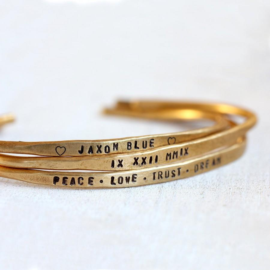 Свадьба - Personalized brass cuffs or sterling silver cuffs hand stamped bracelets