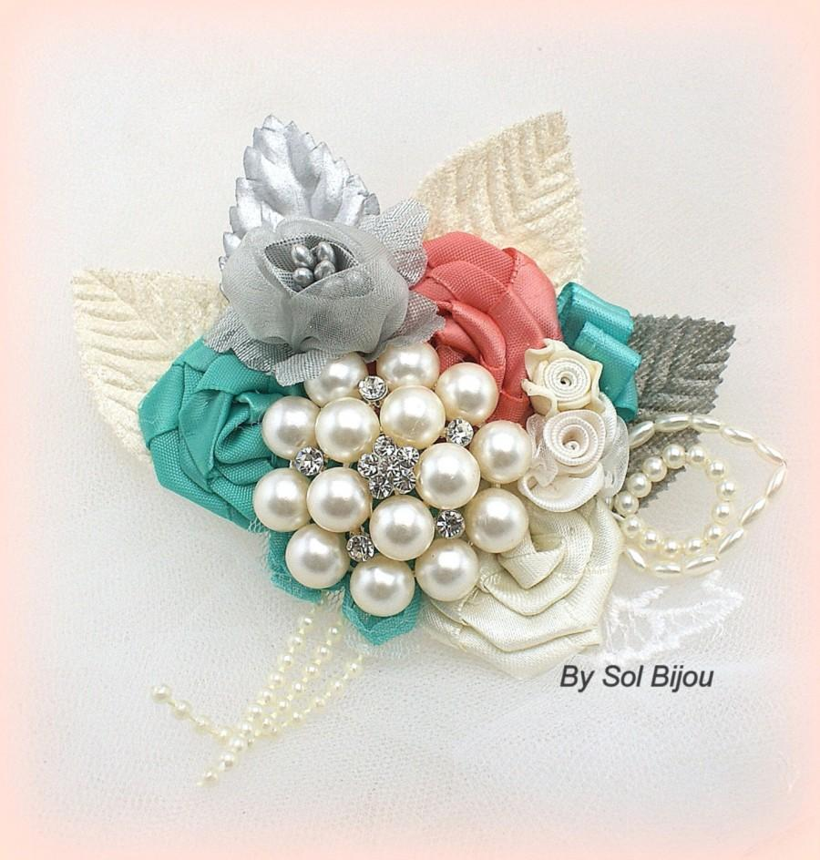 Свадьба - Groom Boutonniere, Coral, Aqua, Blue, Turquoise, Ivory, Silver, Corsage, Groomsmen, Mother of the Bride, Button Hole, Prom, Elegant