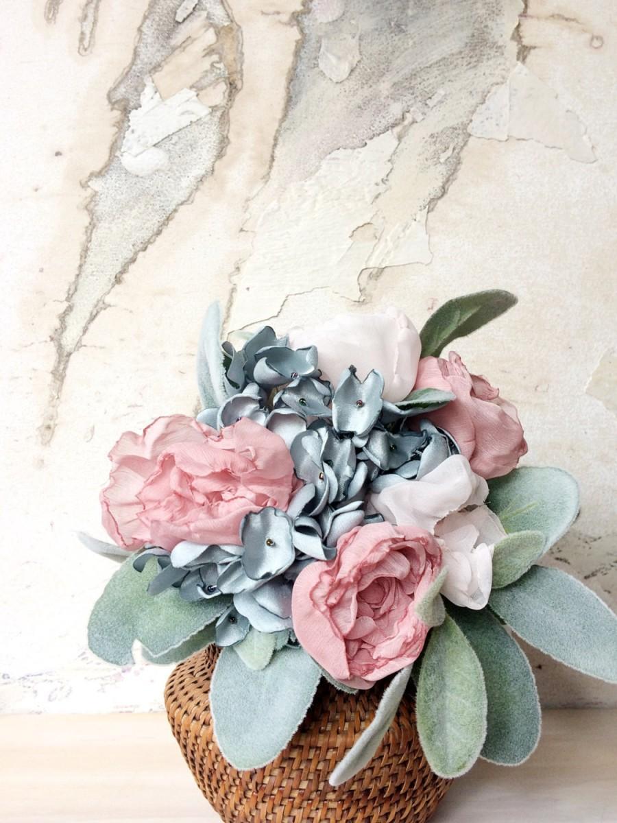 Свадьба - Serenity & Rose Quartz Fabric Flower Bouquet