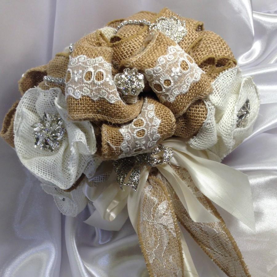 Свадьба - Rustic Wedding Bouquet, Burlap Rhinestone Bouquet, Rustic Wedding, Burlap Wedding, Burlap Wedding, Country Wedding, Wedding bouquet. Wedding