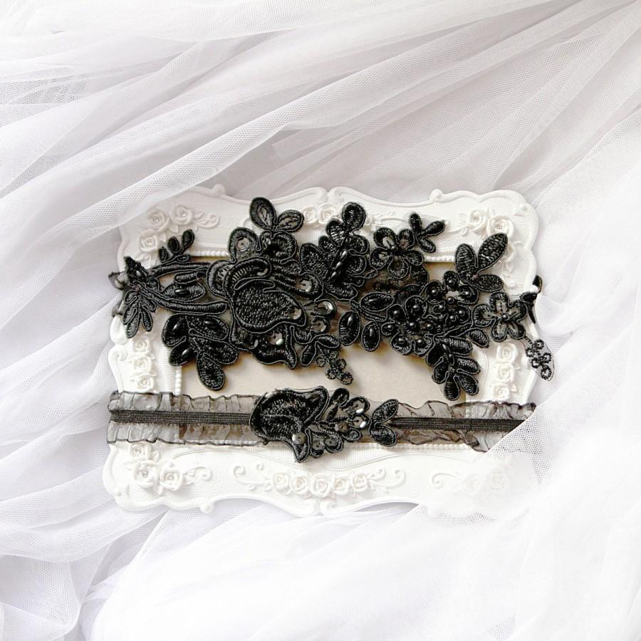Mariage - Wedding Garter Set Bridal Garter Black Garter Belt - Keepsake Garter Toss Garter Prom Garter - Black Pearl Beaded Lace Garters