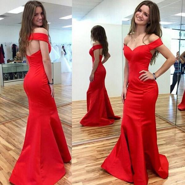 Свадьба - Sexy Red Mermaid Off-the-Shoulder Sleeveless Prom Dress