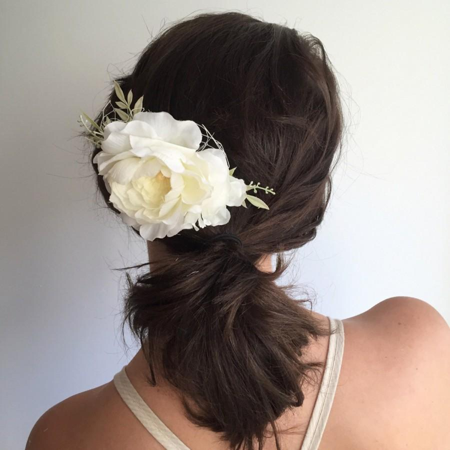 زفاف - Ivory Flower Comb- Bridal Hair comb- Ivory wedding headpiece- Peony Floral Clip- Wedding Hair Comb- Bridal Hair Accessory