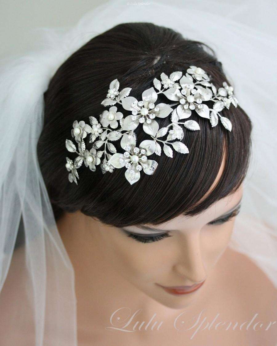 زفاف - Bridal Flower Crown Wedding Hair Accessories Wedding Bridal Headband Headpiece Leaf Headband Vintage Bridal Flower Crown Tiara   LISSE DLX