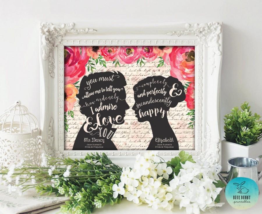 Свадьба - Pride and Prejudice Wall Art Printable. DIGITAL FILE. Wedding Decorations. Floral Wedding Sign. Jane Austen Quote. Mr and Mrs Sign. Decor