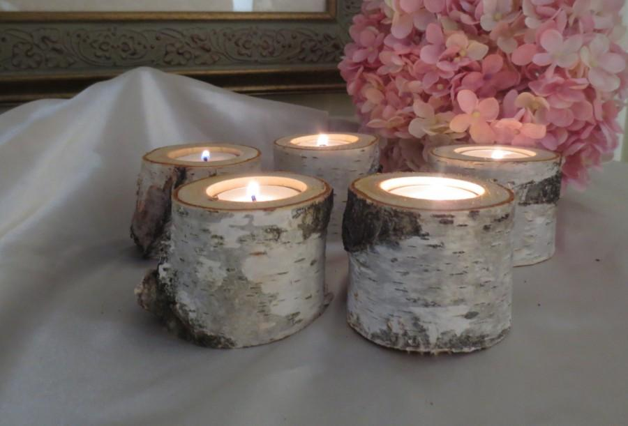 "Свадьба - 15  - 2"" Birch Candle Holders for Weddings, Bridal Showers, Garden Party, Favors"