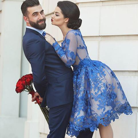 Свадьба - Fancy Short A-line Long Sleeves Prom Gowns Evening Gowns with Royal blue Appliques from Tidetell