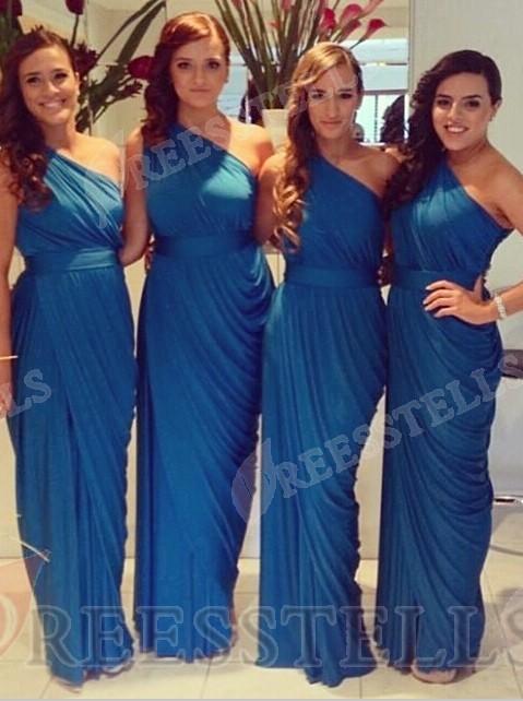 Свадьба - Sexy Sheath One Shoulder Floor Length Royal Blue Bridesmaid Dress with Ruffles