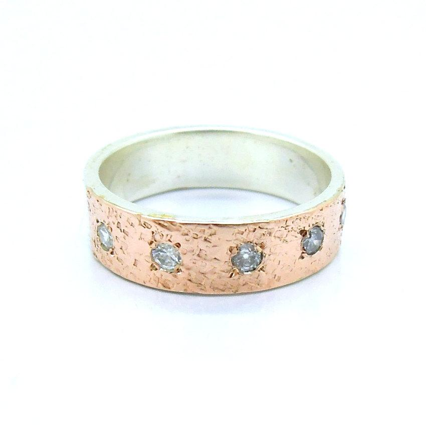Mariage - Zircon ring with hammered rose gold & silver, engagement ring