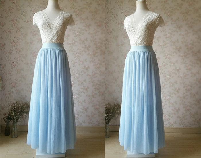 Something Blue Dusty Blue Bridesmaid Skirt Elastic Long Maxi ...