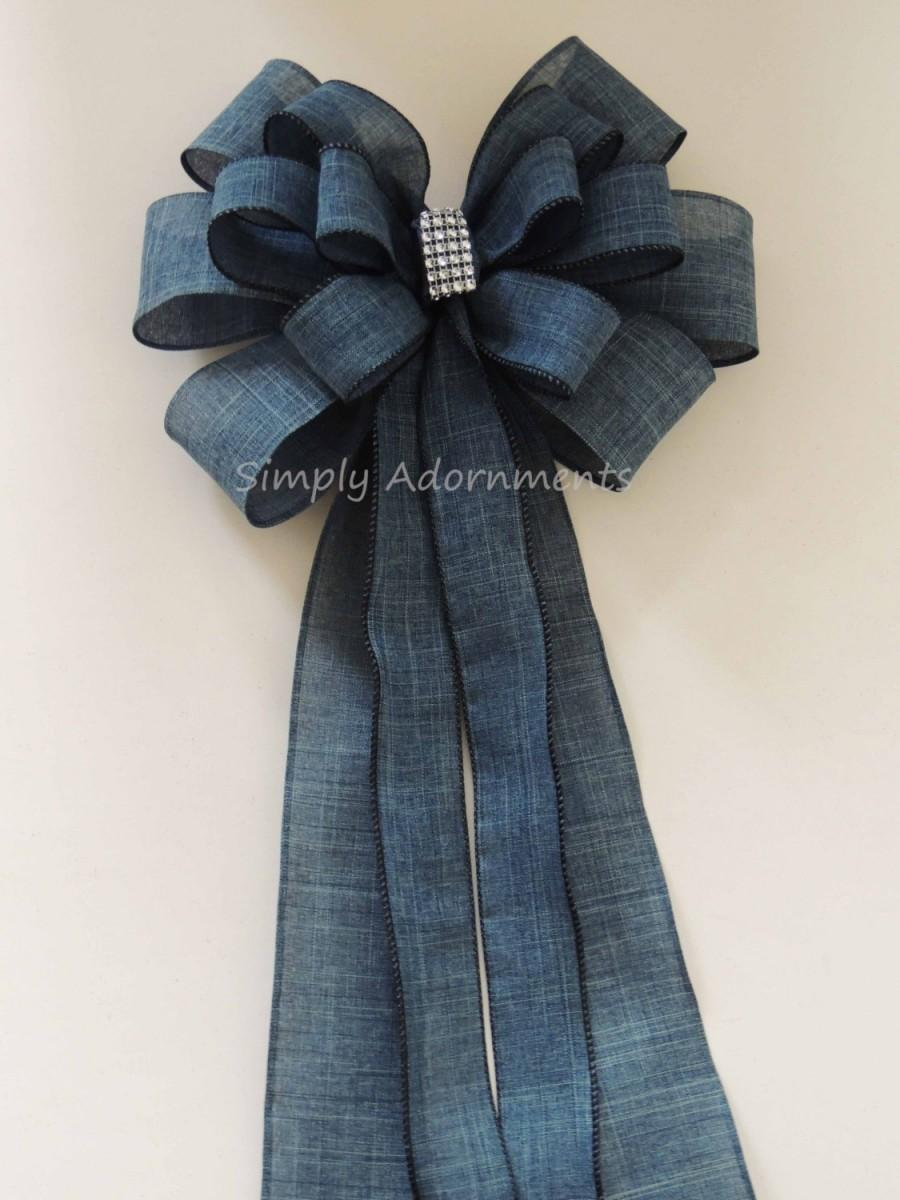 Свадьба - Denim Wedding Bow Denim Country Wedding Aisle bow Denim Burlap Cowboy Wedding Bow Rustic Denim Burlap Wedding Chair Bow Decoration