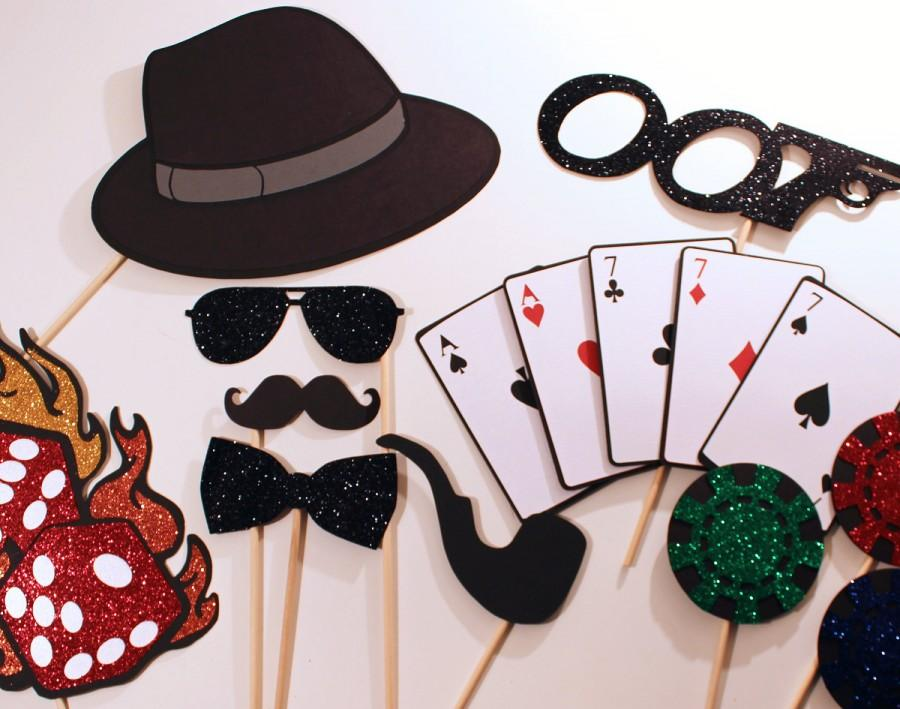 Свадьба - James Bond Themed Photo Booth Props - Features oversized deck of cards, glittered dice on fire, and more...