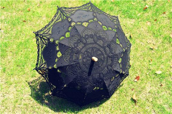 Mariage - Black   Fashion  Battenburg Lace Umbrella Wedding Bridal Parasol