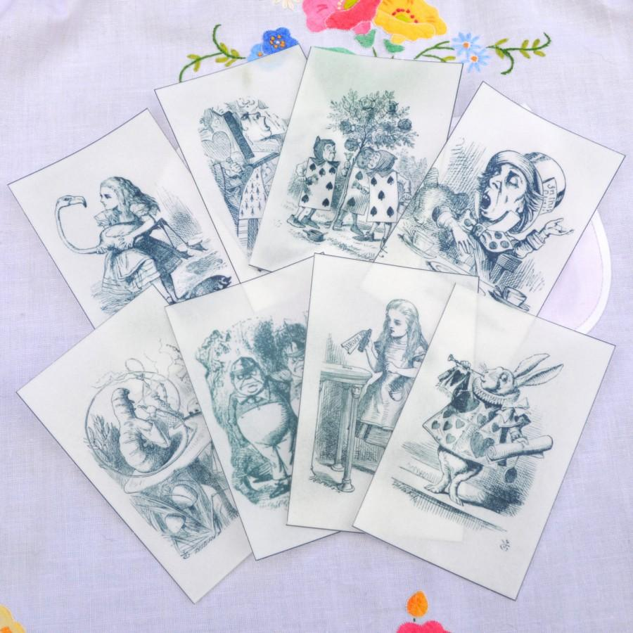 Edible Alice In Wonderland Illustrations X 8 - Black & White Wafer ...