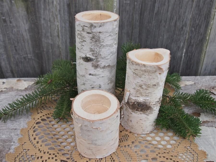 3 White Birch Wood Candle Holders Simple Natural Wedding Decor