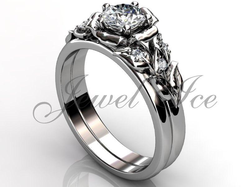 Mariage - Platinum diamond unusual unique flower engagement ring, bridal ring, wedding ring, flower engagement set ER-1066