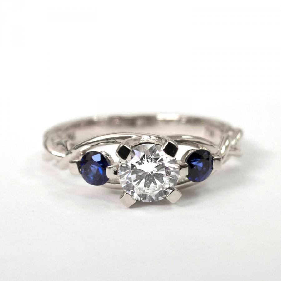 Mariage - Braided Engagement Ring No.7 - Diamonds and Sapphire engagement ring,white gold diamond ring, engagement ring, celtic ring, three stone ring