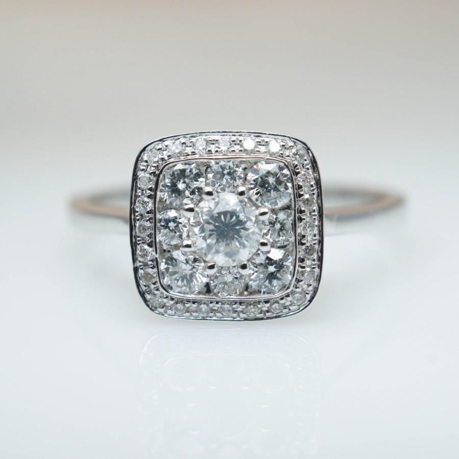 Свадьба - Solitaire Cluster Diamond Engagement Ring in 14k White Gold Cluster Ring Solitaire Wedding Ring Anniversary Ring Jamie Kates Jewelry