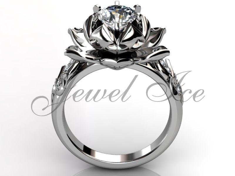 lotus flower engagement ring platinum diamond unusual unique lotus flower engagement ring wedding ring anniversary ring er 1076 - Flower Wedding Rings