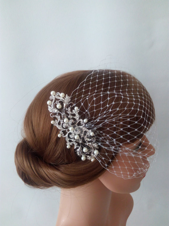 Wedding - Ivory Birdcage Veil, Ivory Netting with Silver Hair Comb Bridal Fascinator, Ivory Bridal Veil - Bandeau Veil or Blusher Veil