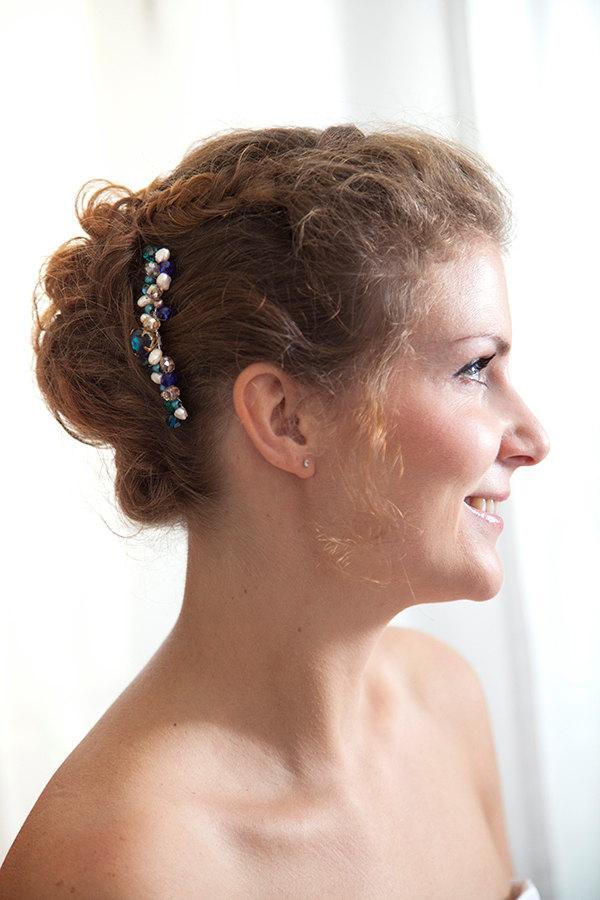 Hochzeit - Bridal comb Moragane - comb bridal Peacock-jewellery of head-crystals of swarovski-comb retro-blue-green