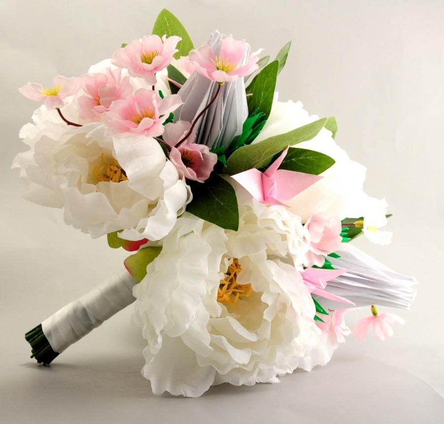 Bridal Bouquet, Peony, Cherry Blossom, And Origami Crane Roses ...