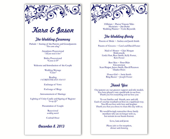 wedding program template diy editable word file instant download program midnight blue wedding program printable wedding program 4x925inch