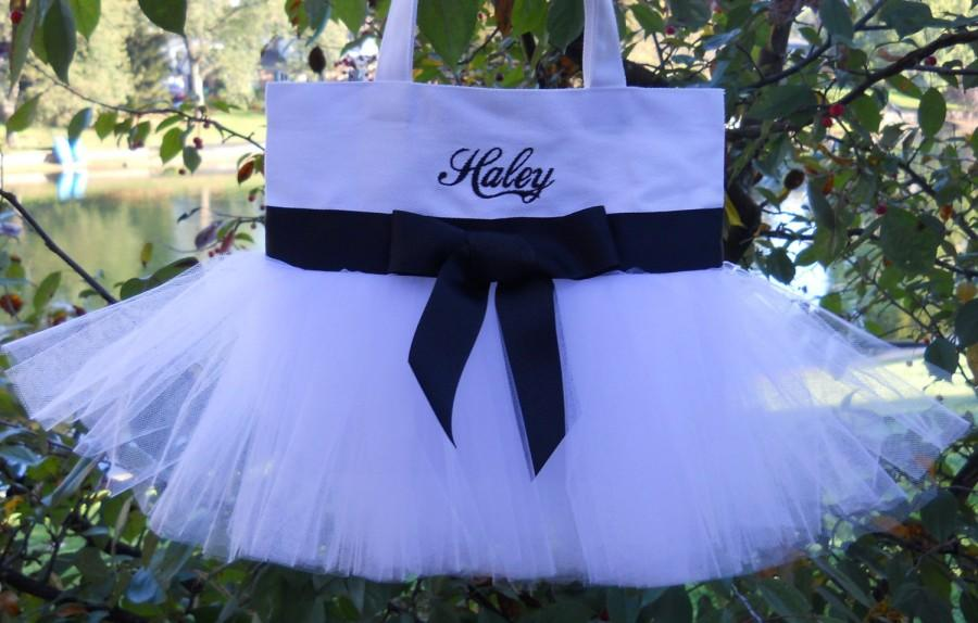 Hochzeit - Children's Embroidered Tote Bag-White tote Bag with black ribbon Personalized Tutu Ballet Tote Bag - TB749 - BP