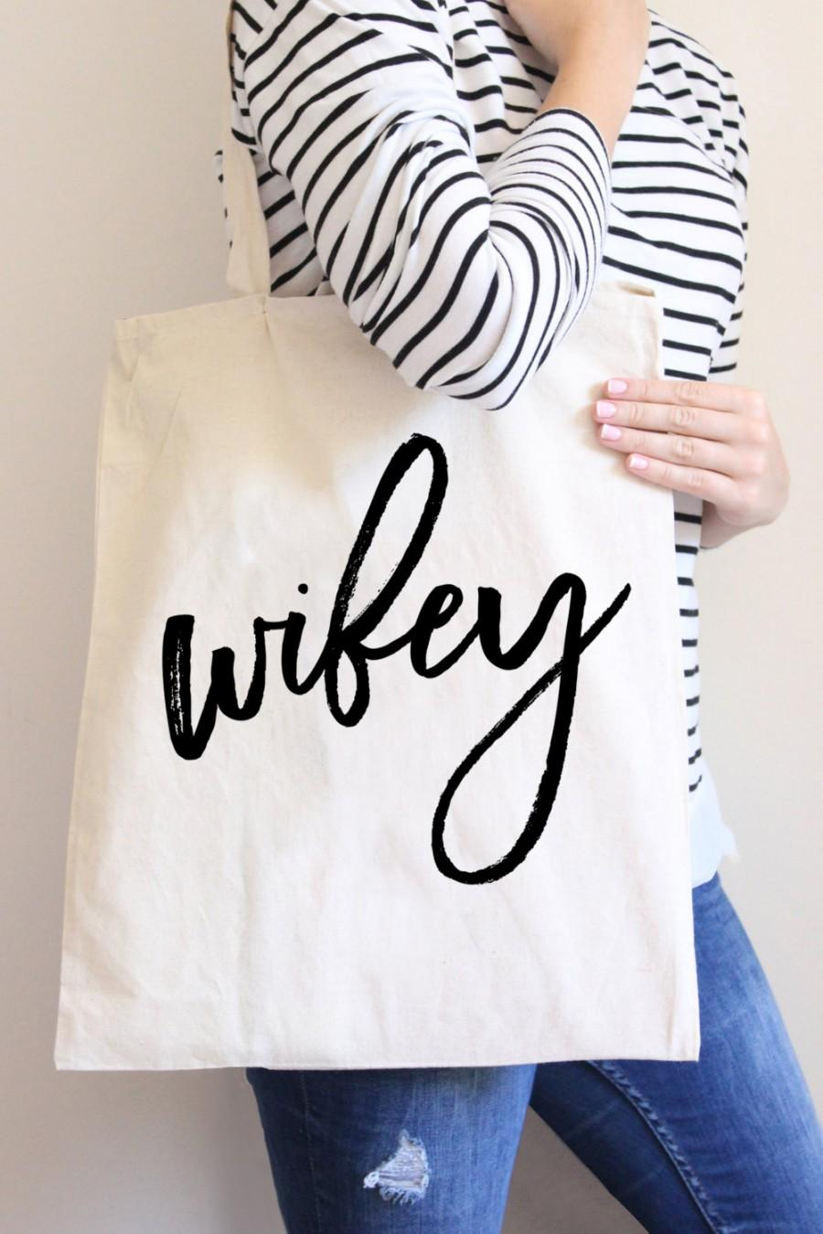 Tote Bag Wifey Wedding Gift For Bride Or Bridal Shower Newlywed Wife