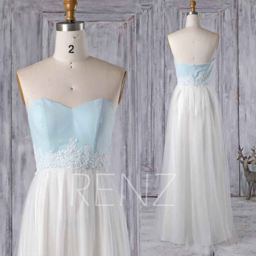 2016 off white soft tulle bridesmaid dress light blue for Light blue lace wedding dress