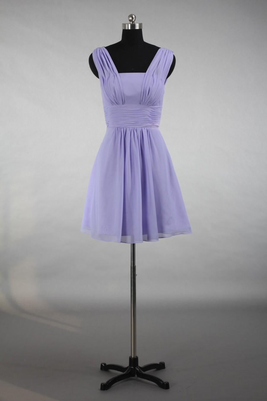 Boda - Lavender Straps Bridesmaid Dress, Custom Made Populay Chiffon Bridesmaid Dress