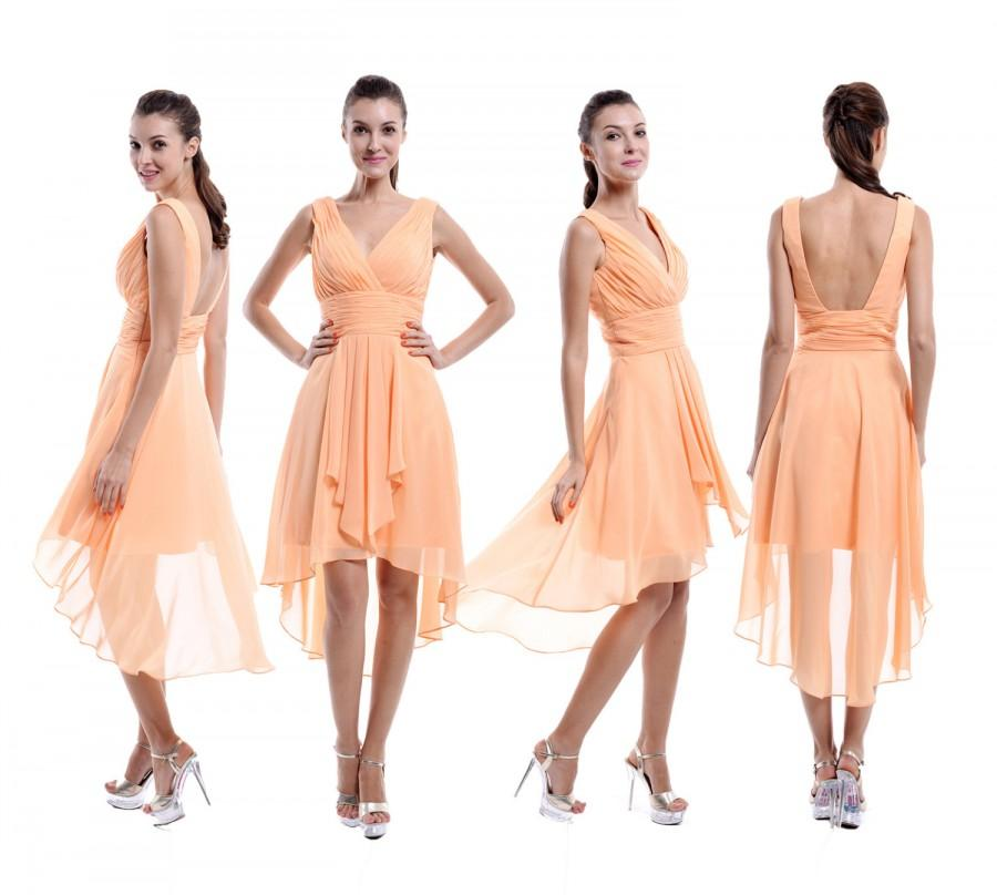 Mariage - Peach Straps Bridesmaid Dress, High-Low V neck Peach Chiffon Bridesmaid Dress With Open Back