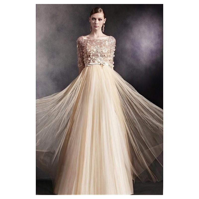 Wedding - In Stock Junoesque Satin & Transparent Net & Composite Filament & Beaded Tulle Square Neck A-line Evening Dress - overpinks.com