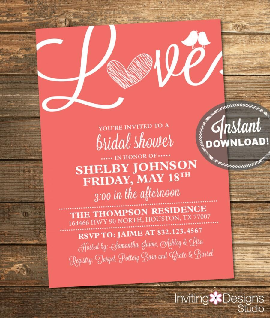 Wedding - Coral Bridal Shower Invitation, Love, Birds, Heart, Coral, White, Modern, Printable File (Custom, INSTANT DOWNLOAD)