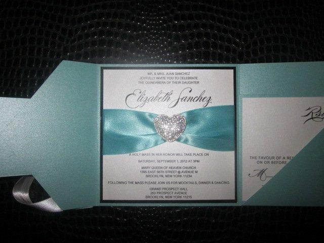 Wedding - Quinceanera Invitation, Sweet Sixteen Invitation, Bat Mitzvah Invitation, Aquamarine Invitation, Robin Egg Blue Invitation