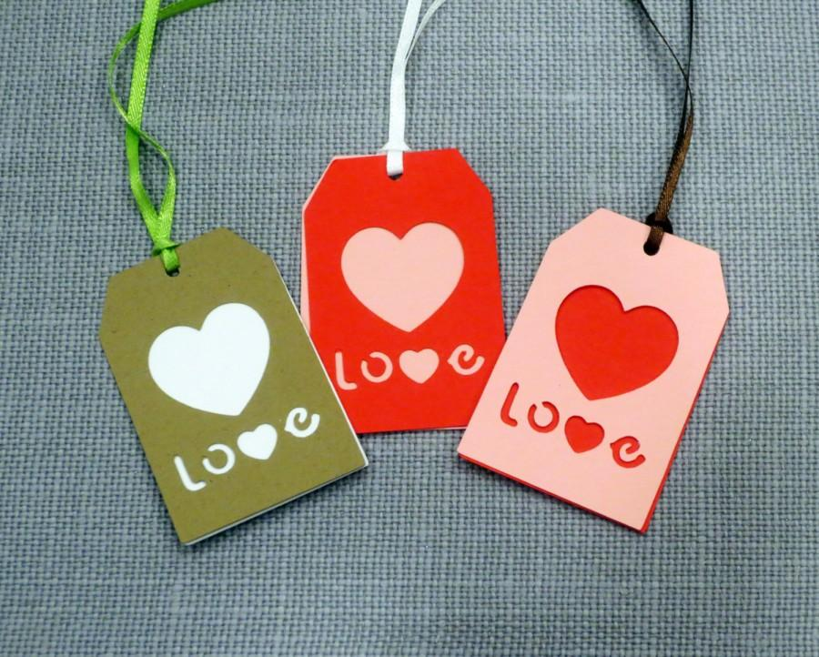 Wedding - Love Wedding Favor Tags, Heart Tags, L O V E Tags, Gift Tag, True Love Wedding Favor, Personalized Wedding Tags, Thank You Tags, Kraft Paper