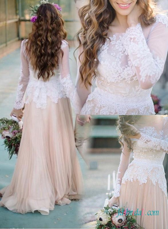 f669cbaa1ae Unique White Lace Nude Colored Vintage Wedding Dress  2609224 - Weddbook