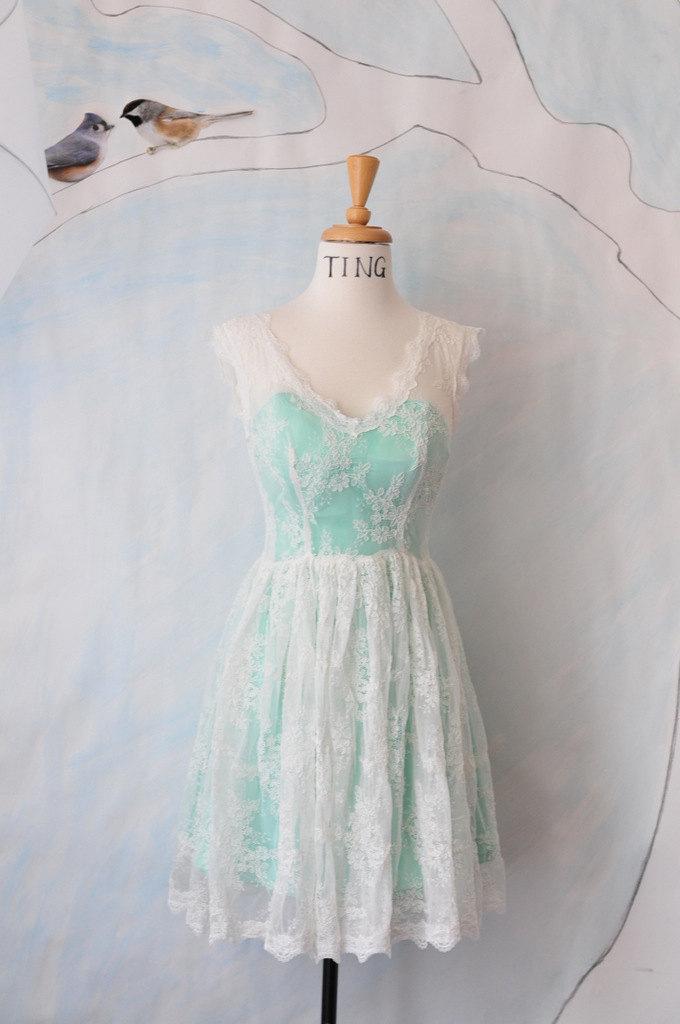 Mariage - Paige-Knee length long sleeves light  Ivory lace Wedding Dress-City hall wedding dress