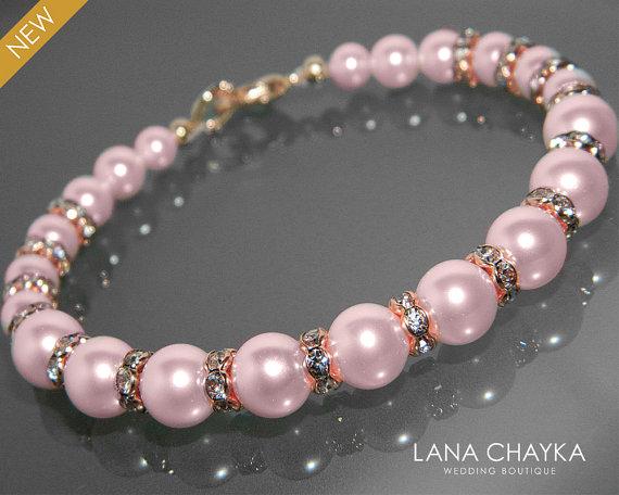 Pink Pearl Rose Gold Bridal Bracelet Swarovski Rosaline Blush Bridesmaid Light Jewelry