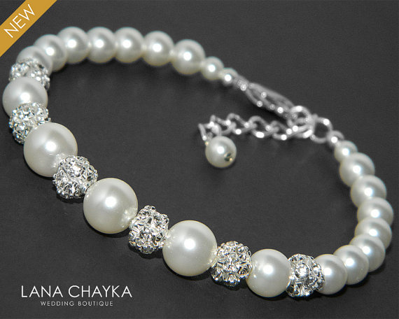 Wedding - Pearl Bridal Bracelet Swarovski White Pearl Silver Wedding Bracelet Pearl Crystal Bridal Bracelets Wedding Pearl Jewelry Bridal Bracelets