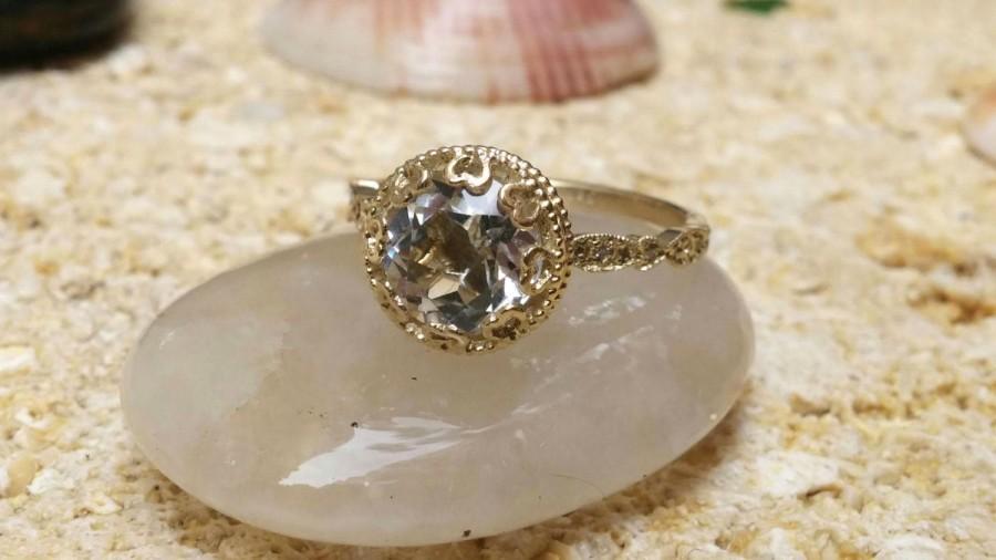 زفاف - Vintage Floral Aquamarine Engagement Ring Diamond Bridal Gold Eternity Band fine jewelry wedding diamonds cocktail rings Anniversary