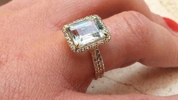 Hochzeit - Unique Gold Diamond Aquamarine Engagement Ring and Diamonds Wedding Ring Set Birdal set Jewelry Halo ring classic rings anniversary