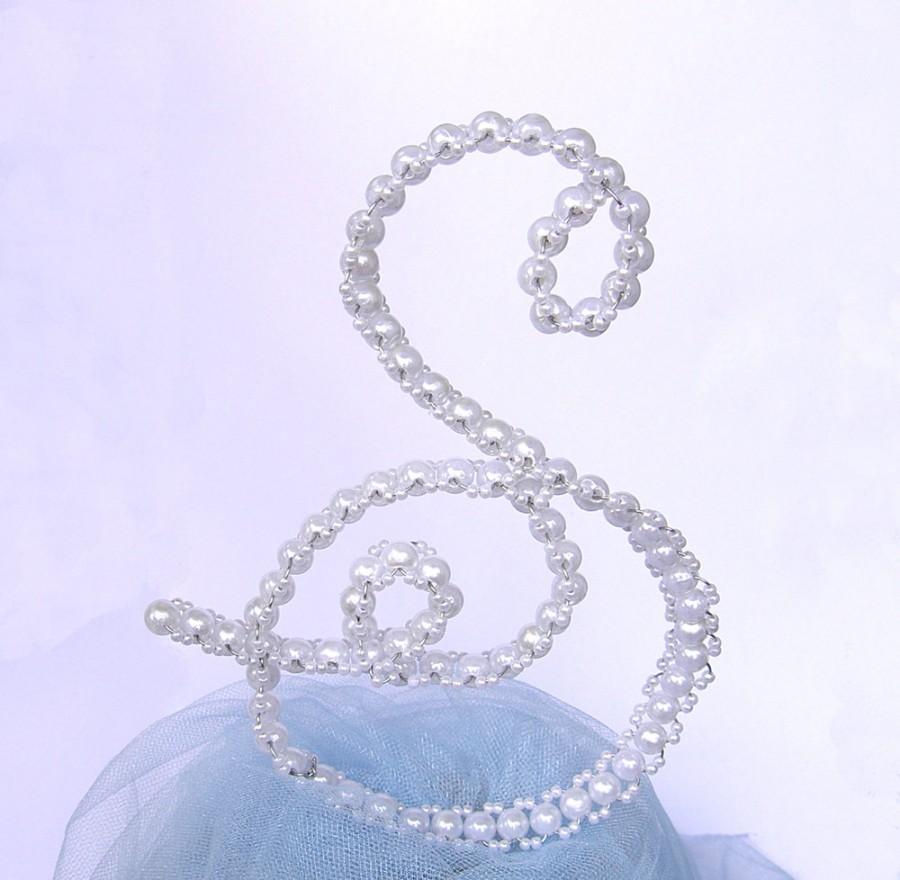 زفاف - Pearl Letter Cake Topper - Initial Cake Topper - Wedding Cake Topper - Letter S - Monogram Cake Topper - Shabby Chic - Personalized