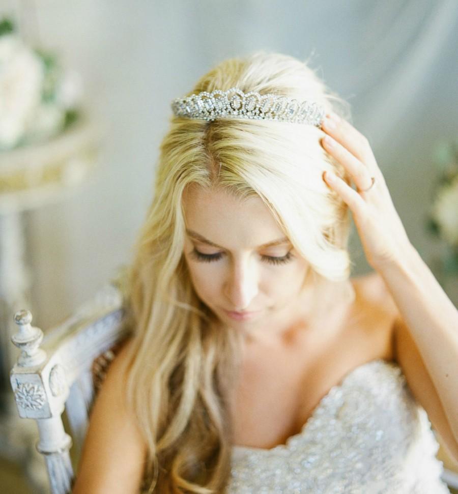 Mariage - Bridal Tiara Swarovski Tiara Baguette Tiara GRETA Bridal Tiara, Crystal Wedding Crown Rhinestone Tiara, Wedding Tiara, Diamante Crown, Tiara