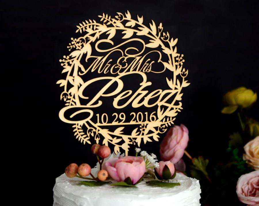 Свадьба - Wedding Cake Topper Personalized with Date and Name, Custom Rustic Cake Topper Made of Linden Wood, Cake Topper with YOUR Names #142