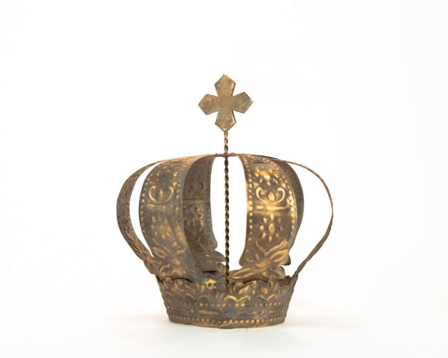 Свадьба - Gold Crown Cake Topper, Antique Gold Crown, Cross Top